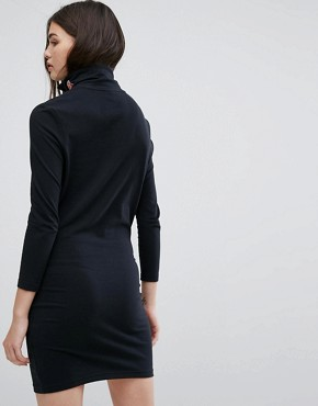 photo Long Sleeve Bodycon Dress with High Neck Logo by Ellesse, color Black - Image 2
