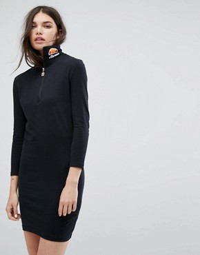 photo Long Sleeve Bodycon Dress with High Neck Logo by Ellesse, color Black - Image 1