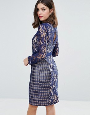 photo Long Sleeve Contrast Lace Shift Dress by Little Mistress Petite, color Navy - Image 2