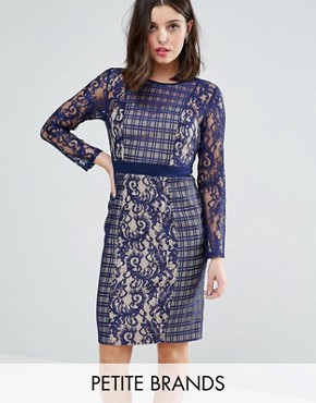 photo Long Sleeve Contrast Lace Shift Dress by Little Mistress Petite, color Navy - Image 1