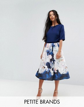 photo Short Sleeve Skater Dress with Printed Skirt by Little Mistress Petite, color Print - Image 1