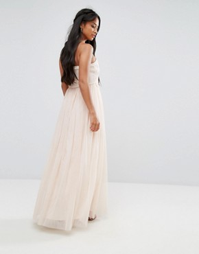 photo Tulle Maxi Dress with Floral Applique Bodice by Little Mistress Petite, color Cream/Nude - Image 2