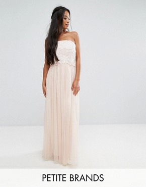 photo Tulle Maxi Dress with Floral Applique Bodice by Little Mistress Petite, color Cream/Nude - Image 1