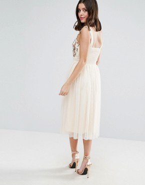 photo Tulle Midi Dress with Embroidered Bodice by Little Mistress Petite, color Beige - Image 2
