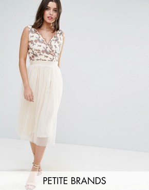 photo Tulle Midi Dress with Embroidered Bodice by Little Mistress Petite, color Beige - Image 1