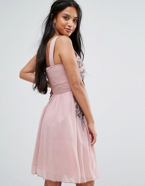 photo Chiffon Skater Dress with Embellished Detail by Little Mistress Petite, color Rose - Image 2