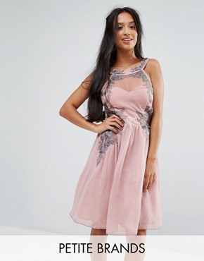 photo Chiffon Skater Dress with Embellished Detail by Little Mistress Petite, color Rose - Image 1