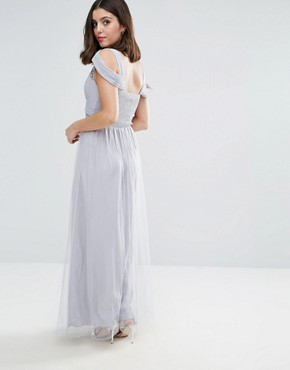 photo Off Shoulder Maxi Dress with Embellished Detail by Little Mistress Petite, color Grey - Image 2