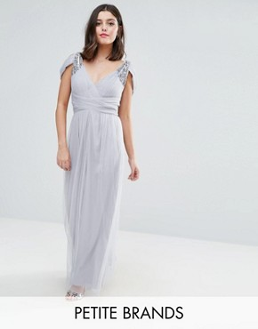 photo Off Shoulder Maxi Dress with Embellished Detail by Little Mistress Petite, color Grey - Image 1