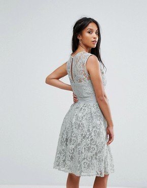 photo Lace Panelled Skater Dress by Little Mistress Petite, color Waterlily - Image 2
