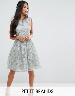 photo Lace Panelled Skater Dress by Little Mistress Petite, color Waterlily - Image 1