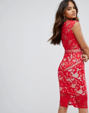 photo Lace Panelled Midi Dress by Little Mistress Tall, color Red - Image 2