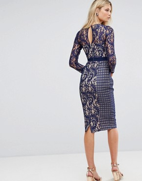 photo Long Sleeve Contrast Lace Shift Dress by Little Mistress Tall, color Navy - Image 2