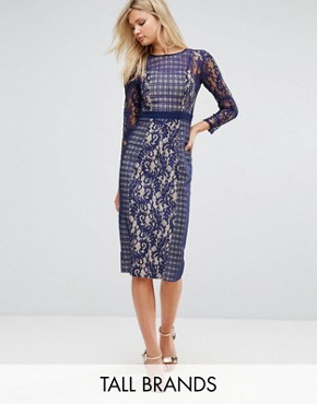 photo Long Sleeve Contrast Lace Shift Dress by Little Mistress Tall, color Navy - Image 1