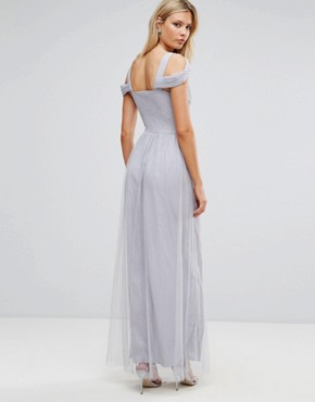 photo Off Shoulder Maxi Dress with Embellished Detail by Little Mistress Tall, color Grey - Image 2