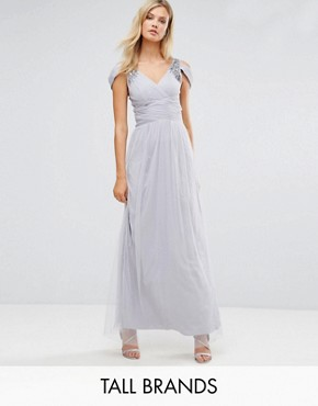 photo Off Shoulder Maxi Dress with Embellished Detail by Little Mistress Tall, color Grey - Image 1