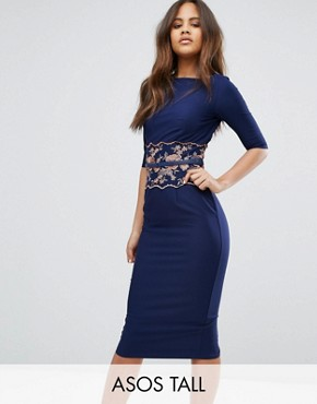 photo Pencil Midi Dress with Embroidered Detail by Little Mistress Tall, color Navy - Image 1