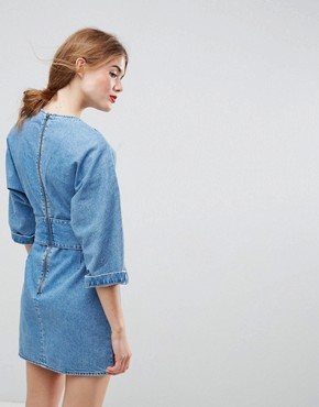 photo Denim Dress with Belt anD-Ring Detail in Midwash Blue by ASOS, color Blue - Image 2