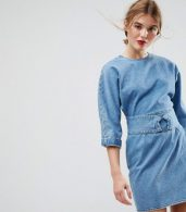photo Denim Dress with Belt anD-Ring Detail in Midwash Blue by ASOS, color Blue - Image 1