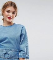 photo Denim Dress with Belt anD-Ring Detail in Midwash Blue by ASOS, color Blue - Image 3