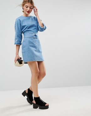 photo Denim Dress with Belt anD-Ring Detail in Midwash Blue by ASOS, color Blue - Image 4