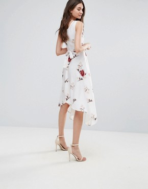 photo Floral Wrap Front Dress by Influence, color White Floral - Image 2