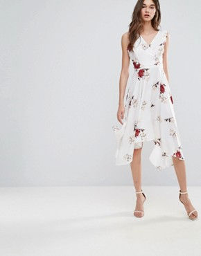 photo Floral Wrap Front Dress by Influence, color White Floral - Image 1