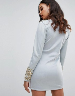 photo Long Sleeve Heavily Embellished Dress with V-Front by A Star Is Born, color Duck Egg - Image 2