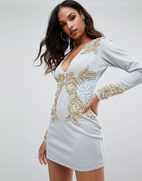 photo Long Sleeve Heavily Embellished Dress with V-Front by A Star Is Born, color Duck Egg - Image 1
