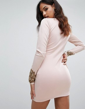 photo Long Sleeve Heavily Embellished Dress with V-Front by A Star Is Born, color Dusky Pink - Image 2
