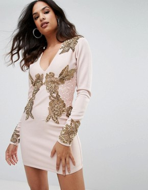 photo Long Sleeve Heavily Embellished Dress with V-Front by A Star Is Born, color Dusky Pink - Image 1