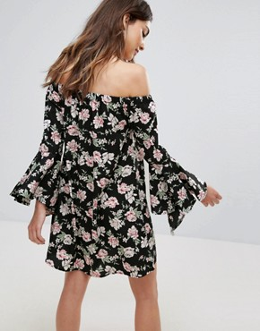 photo Floral Bardot Dress with Flare Sleeve by Influence, color Black Floral - Image 2