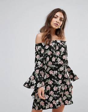 photo Floral Bardot Dress with Flare Sleeve by Influence, color Black Floral - Image 1