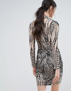 photo High Neck Embellished Bodycon Dress by Girl in Mind, color Nude/Black Sequin - Image 2
