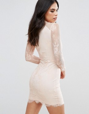 photo Eyelash Lace Applique Bodycon Dress by Girl in Mind, color Nude - Image 2