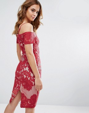 photo Lace Bardot Strappy Midi Dress by Girl in Mind, color Red - Image 2