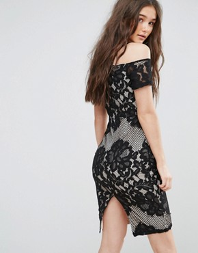 photo Lace Bardot Strappy Midi Dress by Girl in Mind, color Black - Image 2
