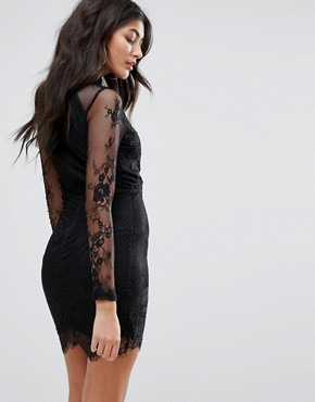 photo Eyelash Lace Applique Bodycon Dress by Girl in Mind, color Black - Image 2