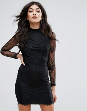 photo Eyelash Lace Applique Bodycon Dress by Girl in Mind, color Black - Image 1