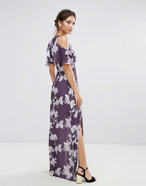 photo Cold Shoulder Floral Maxi Dress by Hope & Ivy, color Purple - Image 2