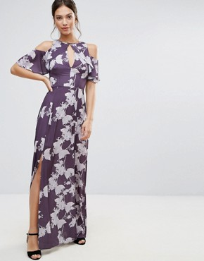photo Cold Shoulder Floral Maxi Dress by Hope & Ivy, color Purple - Image 1