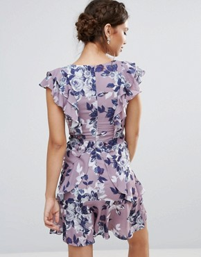 photo Frill Edge Skater Dress in Floral Print by Hope & Ivy, color Grey - Image 2