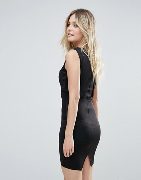 photo Cropped Overlay Shimmer Midi Dress by AX Paris, color Black - Image 2