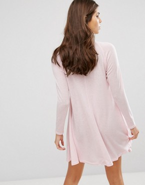 photo High Neck Knitted Swing Dress with Embroidery Detail by AX Paris, color Pink - Image 2