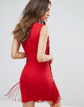 photo Embellished Shift Dress with Tassel Detail by A Star Is Born, color Red - Image 2