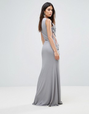 photo Embellished Maxi Dress with Cut Out Sides by A Star Is Born, color Grey Silver - Image 2