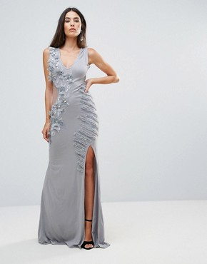 photo Embellished Maxi Dress with Cut Out Sides by A Star Is Born, color Grey Silver - Image 1
