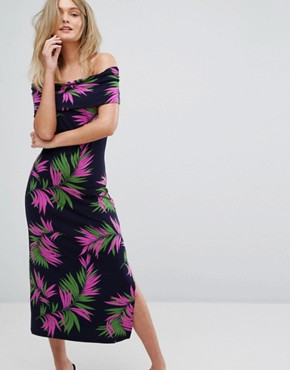 photo Graphic Palm Print Midi Dress by Warehouse, color Navy Base - Image 1