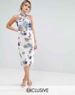 photo Floral Midi Dress with High Neck and Ruffle Waist by Hope & Ivy, color Romantic Dark Floral - Image 1