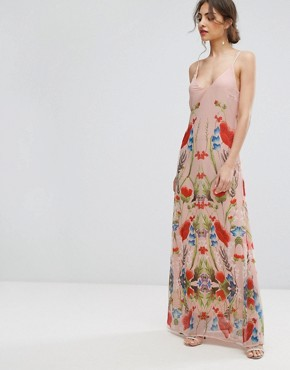 photo Printed Maxi Dress with Lace Up Back Detail by Hope & Ivy, color Pink Multi - Image 2
